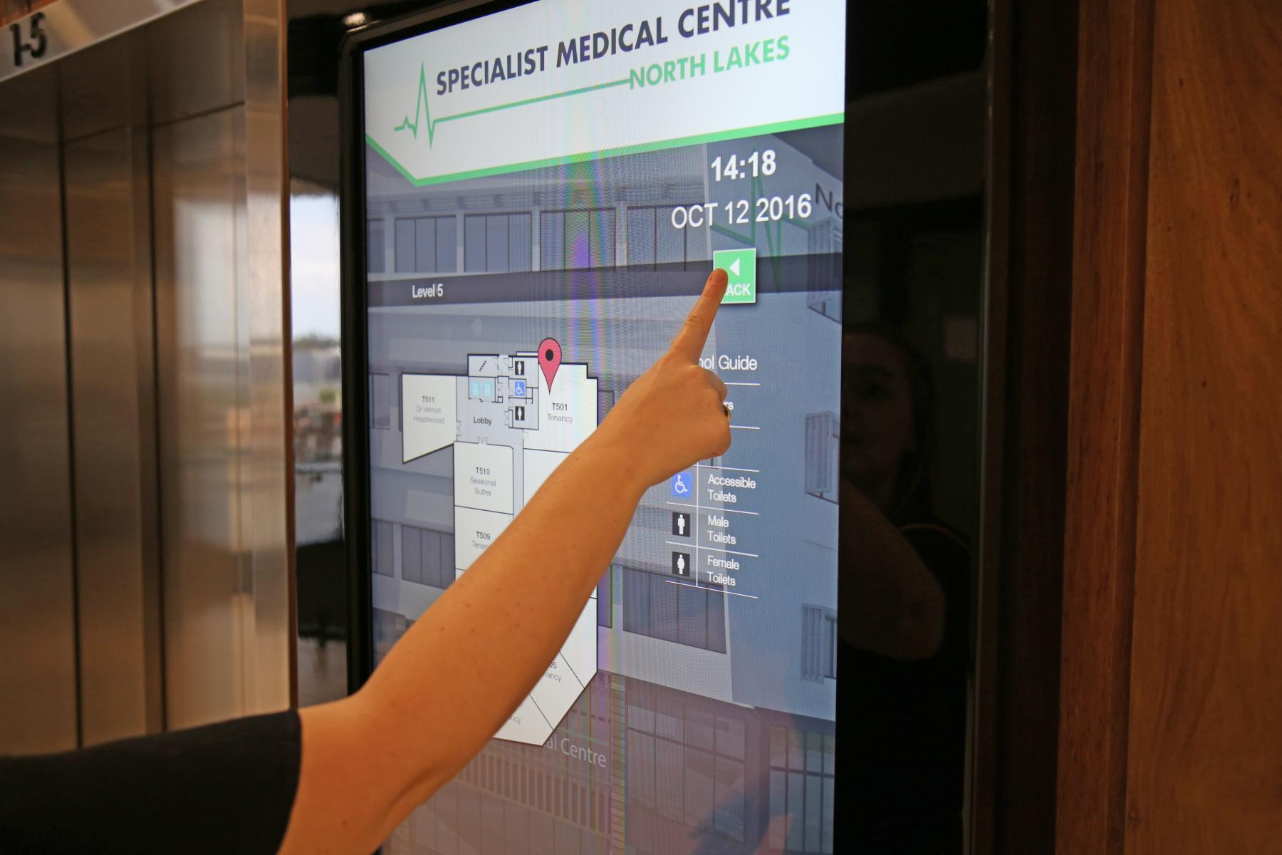 North Lakes Medical Centre Interactive Screen Digital Wayfinding